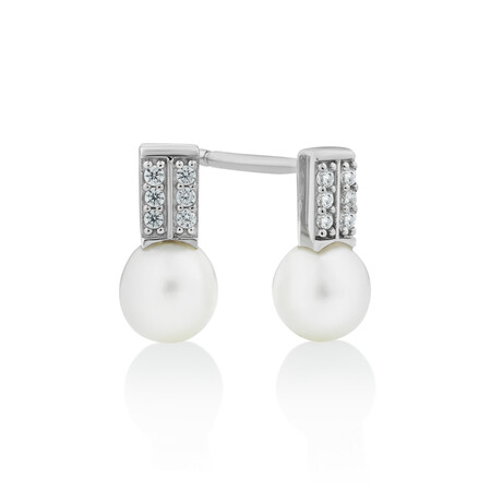 Cultured Freshwater Pearl & Cubic Zirconia Stud Earrings in Sterling Silver