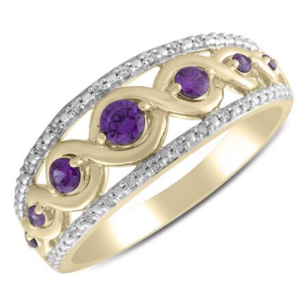 Twist Ring with Amethyst & Diamond in 10ct Yellow Gold