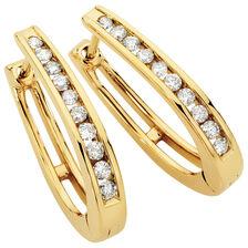 Hoop Earrings with 1/2 Carat TW of Diamonds in 10ct Yellow Gold