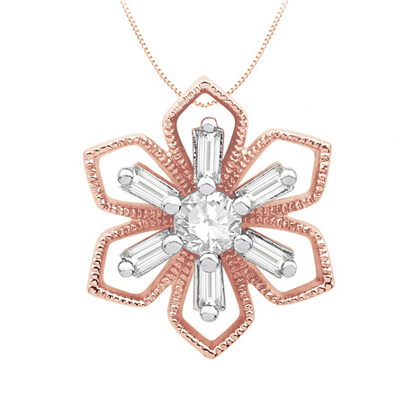 Flower Pendant with 0.15 Carat TW of Diamonds in 10ct Rose Gold