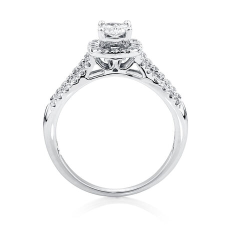 Engagement Ring with 3/4 Carat TW of Diamonds in 14ct White Gold