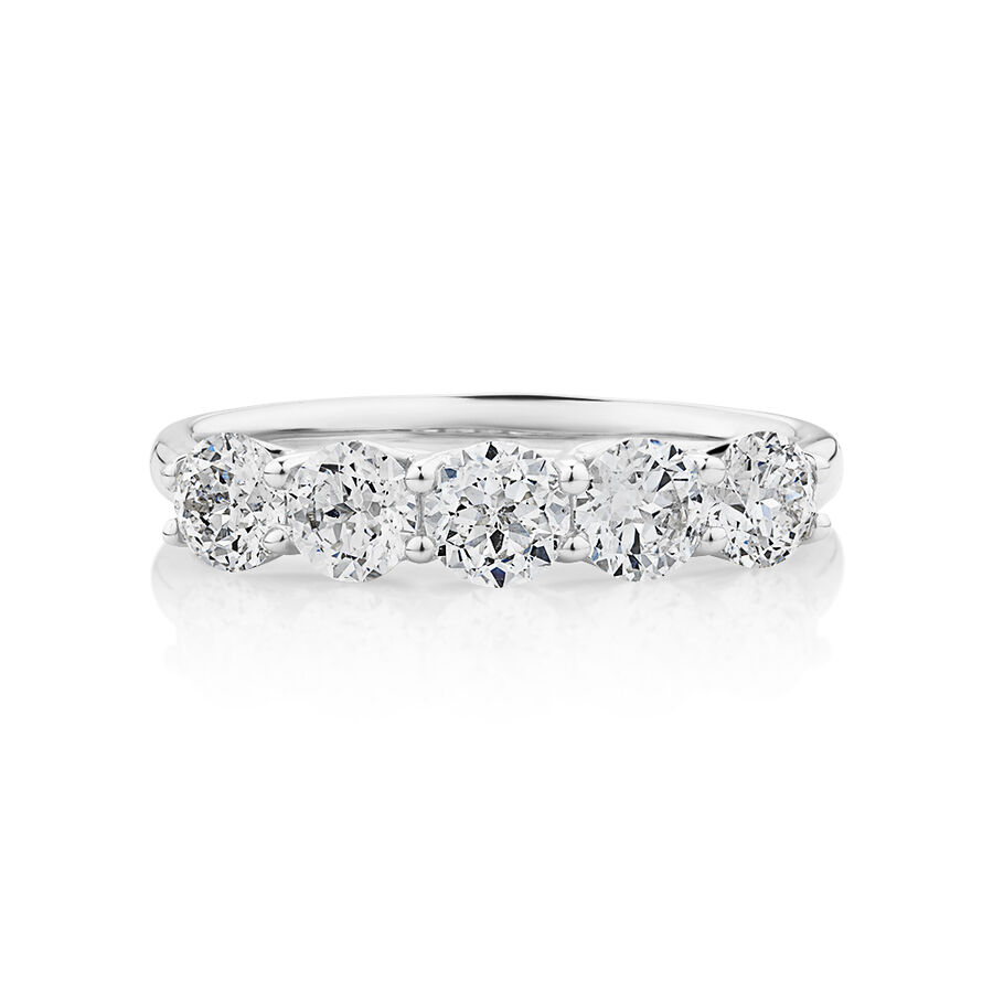 Southern Star 5 Stone Engagement Ring with 1.15 Carat TW of Diamonds in 14ct White Gold