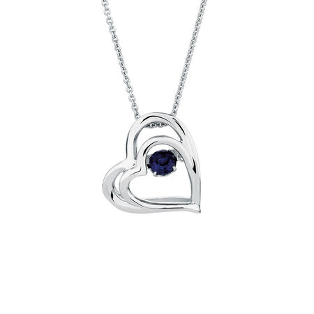 Online Exclusive - Everlight Heart Pendant with Created Sapphire in Sterling Silver
