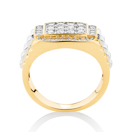 Ring with 1 Carat TW of Diamonds in 10ct Yellow & White Gold