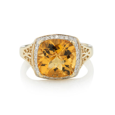Online Exclusive - Ring with 0.14 Carat TW of Diamonds & Citrine in 10ct Yellow Gold