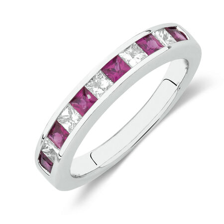 Online Exclusive - Ring with Created Ruby and 0.37 Carat TW of Diamonds in 10ct White Gold