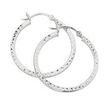 25mm Patterned Hoop Earrings in Sterling Silver