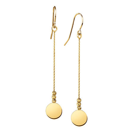 Drop Disc Earrings in 10ct Yellow Gold