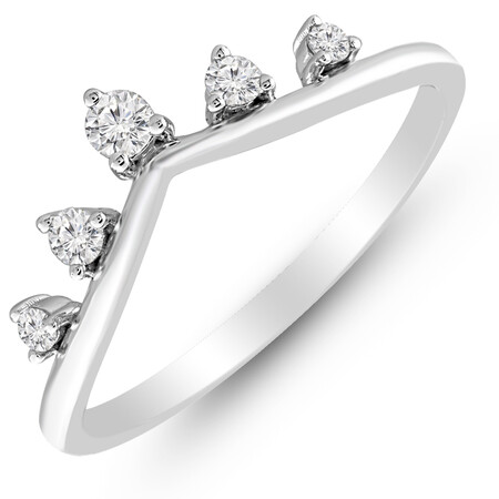 Ring with 0.16 Carat TW of Diamonds in 10ct White Gold
