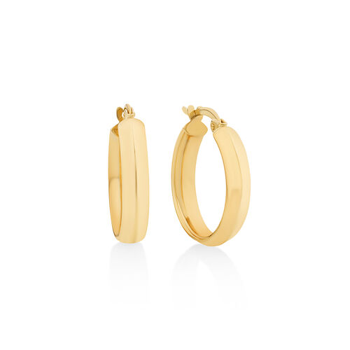 15mm Polished Hoop Earrings In 10ct Yellow Gold