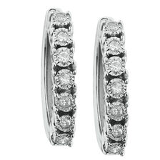 Online Exclusive - Hoop Earrings with Diamonds in Sterling Silver