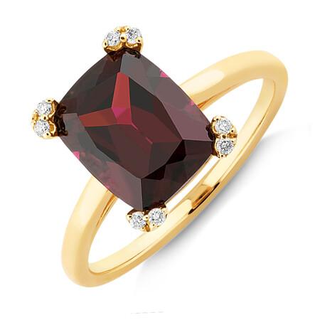 Ring with Rhodolite Garnet & Diamonds In 10ct Yellow Gold