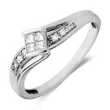 Promise Ring with 0.16 Carat TW of Diamonds in 10ct White Gold
