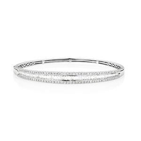 Hinged bangle with 2 Carat TW of Diamonds in 14ct White Gold