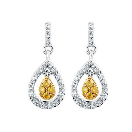 Online Exclusive - Drop Earrings with 0.18 Carat TW of Enhanced Yellow Diamonds in Sterling Silver