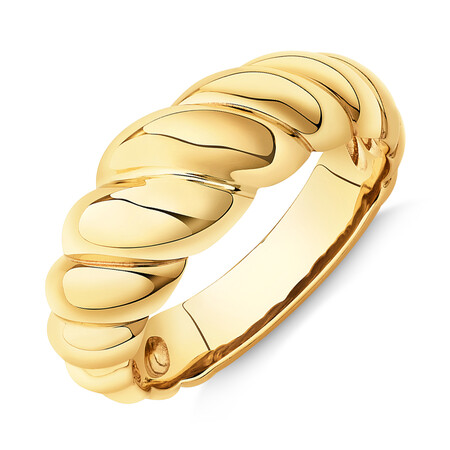Wide Croissant Dome Ring in 10ct Yellow Gold