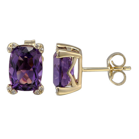 Earring with Diamond & Natural Amethyst in 10ct Yellow Gold