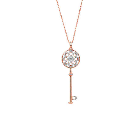 Key Pendant with 0.16 Carat TW of Diamonds in 10ct Rose Gold