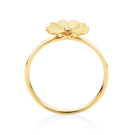 Flower Ring with Diamond in 10ct Yellow Gold
