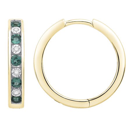 Huggie Earrings with Created Emerald & Diamond in 10ct Yellow Gold