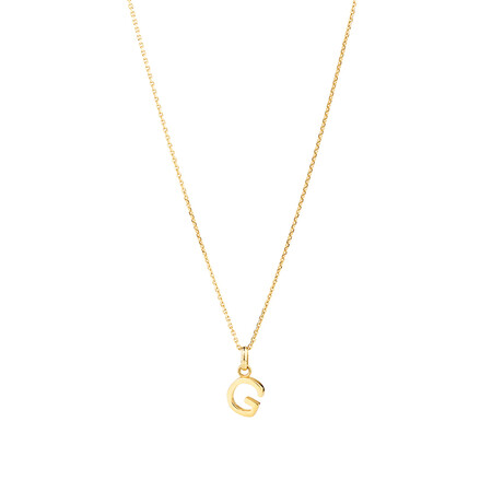 """""""G"""" Initial Pendant with Chain in 10ct Yellow Gold"""