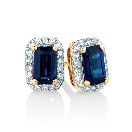 Stud Earrings with Sapphire & Diamonds in 10ct Yellow Gold