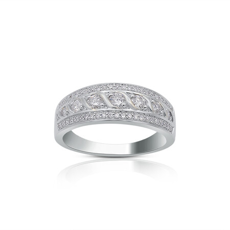 Twist Three Row Ring with 0.50 Carat TW of Diamonds in 10ct White Gold