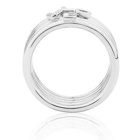 Love Ring Set with Cubic Zirconias in Sterling Silver
