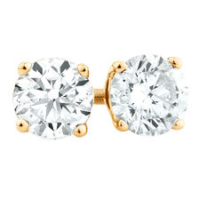 Stud Earrings with 1 Carat TW of Diamonds in 18ct Yellow Gold