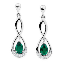 Drop Earrings with Created Emerald & Diamonds in 10ct White Gold
