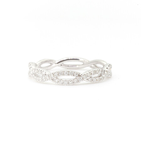 Crossover Ring with 0.28 Carat TW of Diamonds in 10ct White Gold
