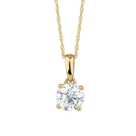 Solitaire Pendant with a 1 Carat Diamond in 18ct Yellow Gold