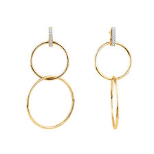 Double Circle Drop Earrings With Diamonds In 10ct Yellow Gold