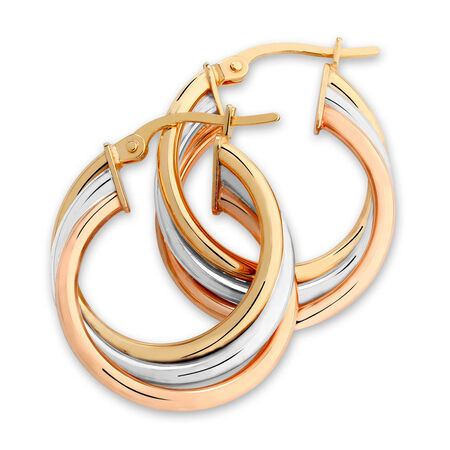 Twist Hoop Earrings in 10ct Yellow, White & Rose Gold