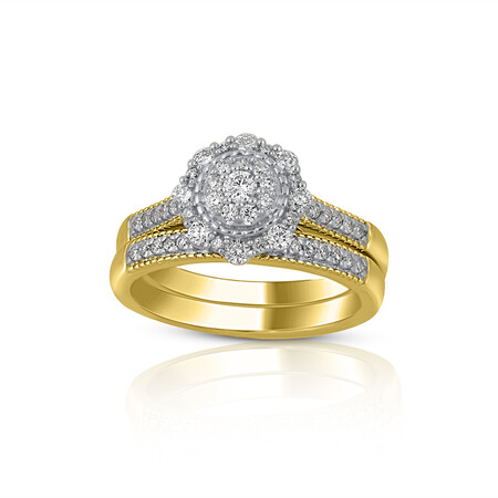 Halo Ring with 0.60 Carat TW of Diamonds in 14ct Yellow & White Gold