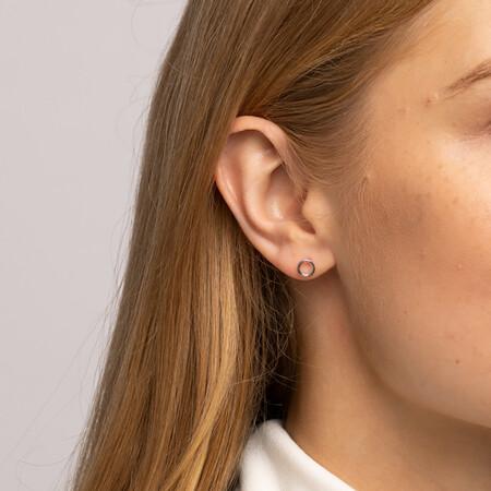 Stud Earrings With Flower, Heart & Open Circle in Sterling Silver