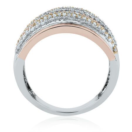 Tri-Tone Ring with 3/4 Carat TW of Diamonds in 10ct White, Rose & Yellow Gold