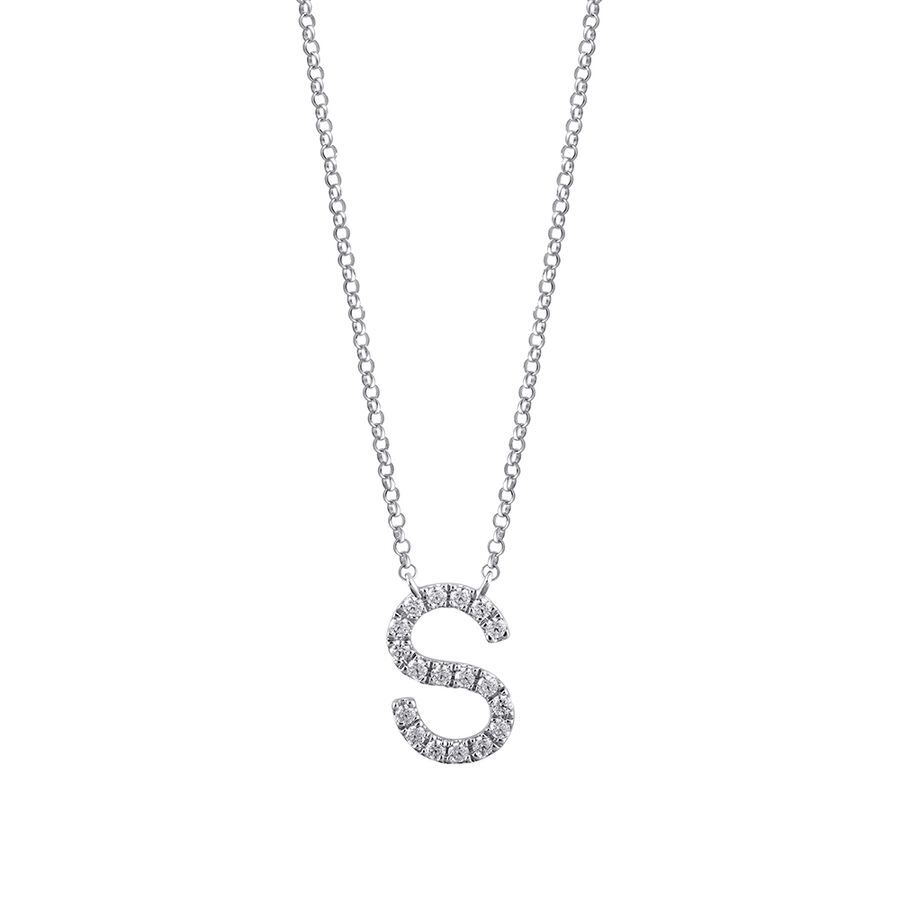 S' Initial necklace with 0.10 Carat TW of Diamonds in 10ct White Gold