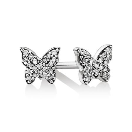 Mini Butterfly Earrings with Diamonds in Sterling Silver