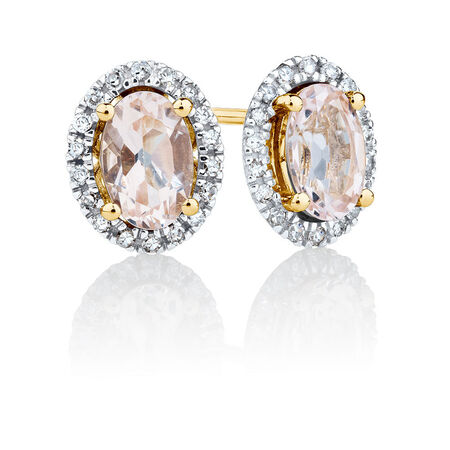 Stud Earrings with Morganite & Diamonds in 10ct Yellow & White Gold