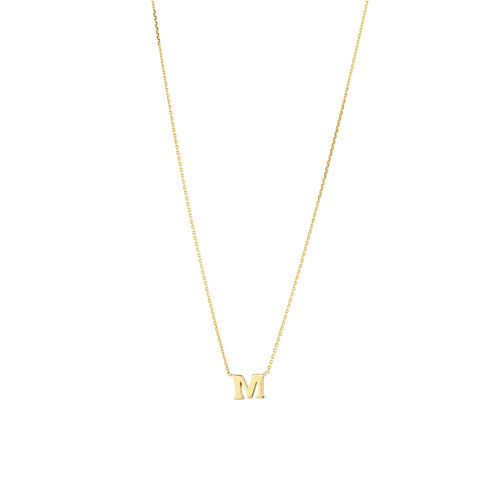 """M"" Initial Necklace in 10ct Yellow Gold"