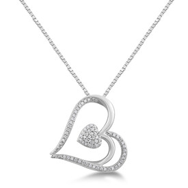 Heart Pendant with 0.12 Carat TW of Diamonds In Sterling Silver