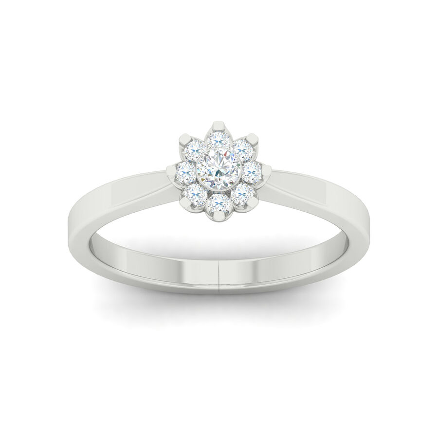 Flower Ring with 0.20 Carat TW of Diamonds in 10ct White Gold