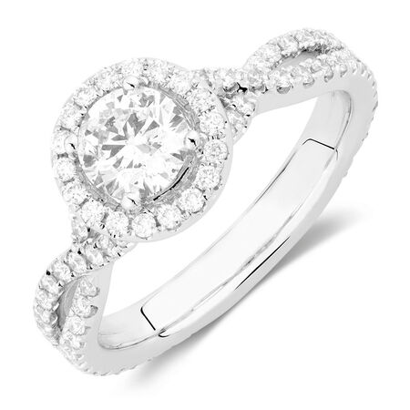 Sir Michael Hill Designer GrandAdagio Engagement Ring with 1.49 Carat TW of Diamonds in 14ct White Gold
