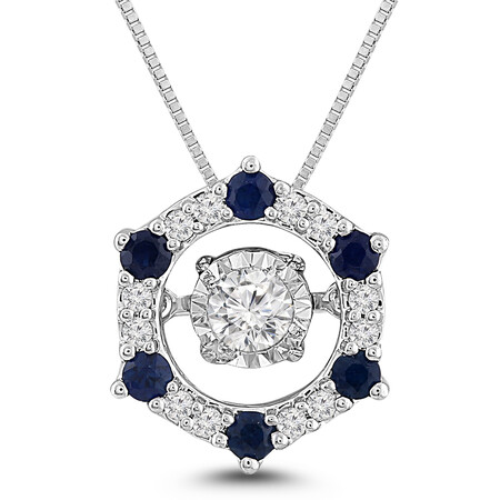 Everlight Pendant with Sapphire and 0.20 Carat TW of Diamonds in 10ct White Gold