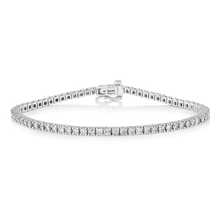 Tennis Bracelet with 3 Carat TW of Diamonds in 10ct White Gold
