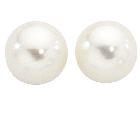 Stud Earrings with 5mm Cultured Freshwater Pearl in 10ct Yellow Gold