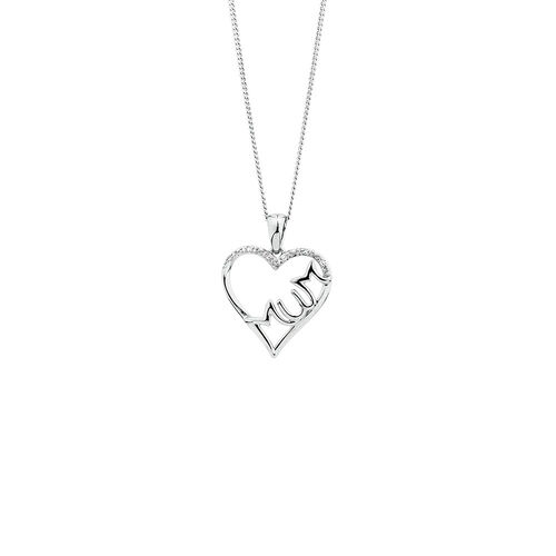 Mum' Heart Pendant with Diamonds in Sterling Silver