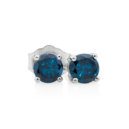 Online Exclusive - Stud Earrings with 0.95 Carat TW of Enhanced Blue Diamonds in 10ct White Gold