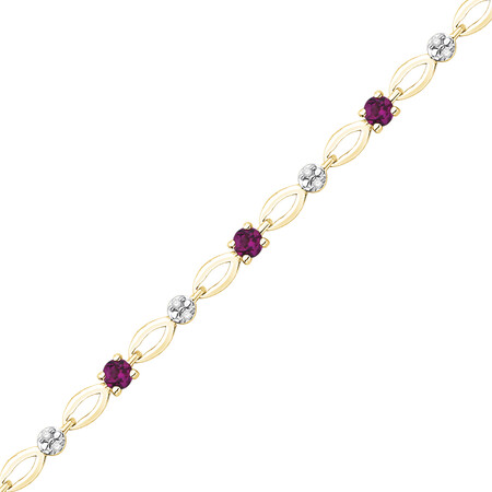 Bracelet with Diamonds & Created Ruby in 10ct Yellow Gold